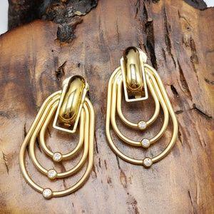 NWT Vintage doorknocker rings rhinestone abstract